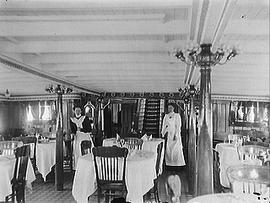 [Two Women in a Dinning Room on Board Ship]