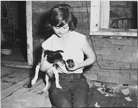 Girl with Dog and Puppy